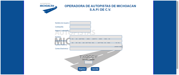 FIGURA 3. REGISTRO EN EL PORTAL DE AUTOPISTA DE MICHOACAN