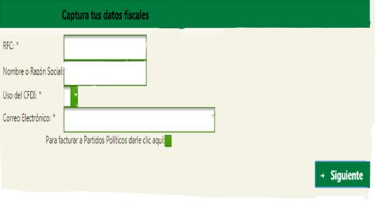 FIGURA 4. CAPTURA DE DATOS FISCALES