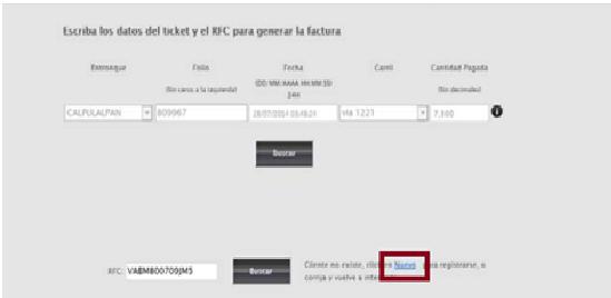 FIGURA 6. PASOS PARA INGRESAR RFC NO REGISTRADO EN SISTEMA